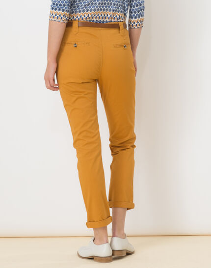 Diane tapered ochre trousers with belt (3) - 1-2-3