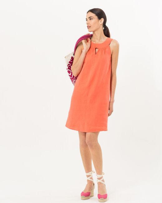 Robe orangée en lin Barbade (2) - 1-2-3