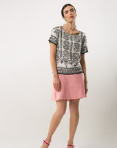 Clairon short pink linen skirt light pink.