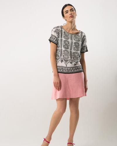 Clairon short pink linen skirt (1) - 1-2-3