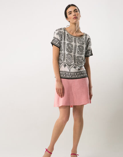 Clairon short pink linen skirt PhotoZ   1-2-3