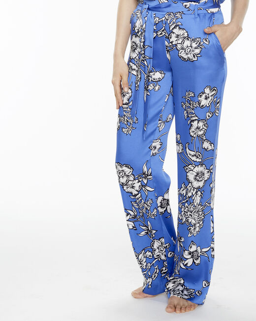 Pantalon bleu imprimé fleuri Deborah (1) - 1-2-3