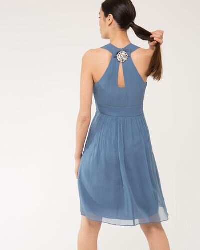 Florane blue silk dress with jewelled back (1) - 1-2-3