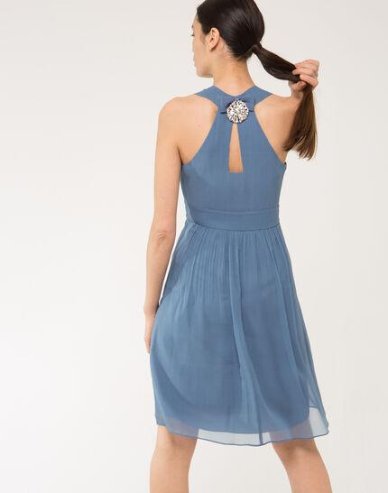 Florane blue silk dress with jewelled back (2) - 1-2-3