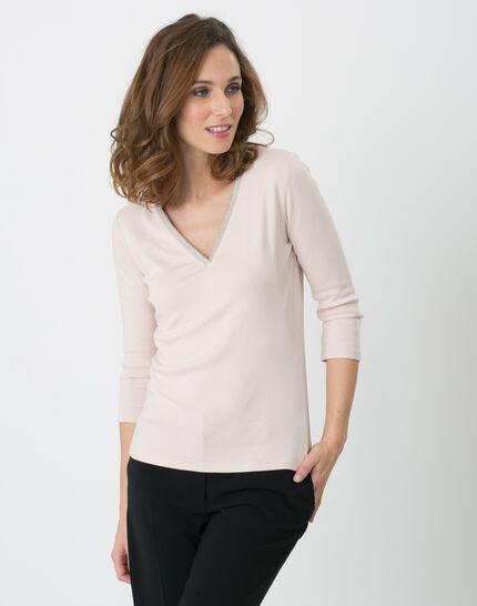 Pale pink T-Shirt with diamanté neckline PhotoZ | 1-2-3