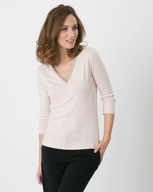 Pale pink T-Shirt with diamanté neckline (1) - 1-2-3