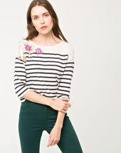 Nouméa printed floral stripy t-shirt navy.