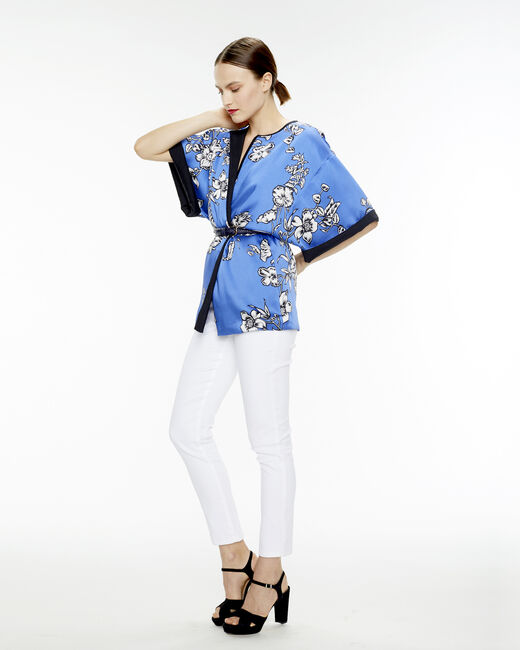Umberto midnight blue kimono with a floral print (1) - 1-2-3