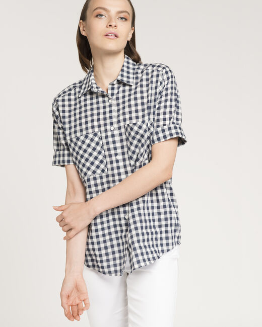 Enigme navy blue check shirt (1) - 1-2-3