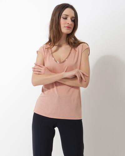 Nova pale pink T-shirt with beaded neckline (1) - 1-2-3
