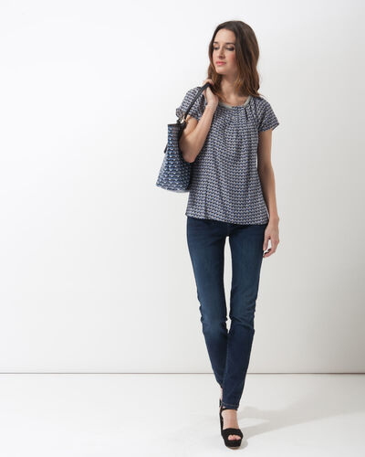 Emeraude blue printed blouse (2) - 1-2-3