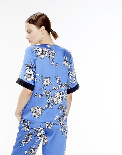 Blouse bleue imprimé fleuri Eclat (4) - 1-2-3
