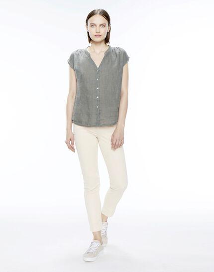 Fiona khaki linen shirt (2) - 1-2-3