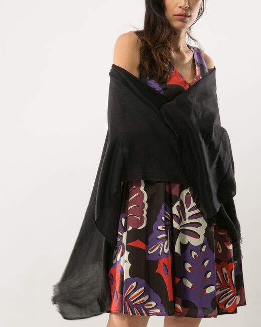 Pat black poncho-style stole (1) - 1-2-3