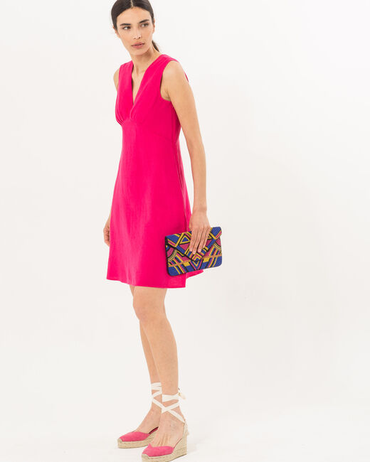 Bonbon fuchsia linen dress (2) - 1-2-3