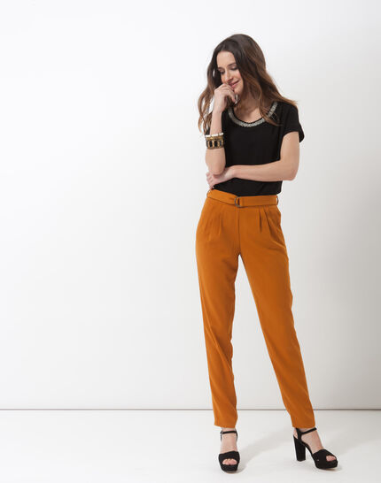 Douguy ochre tapered cut trousers (4) - 1-2-3