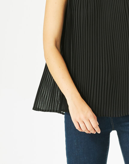 Erica pleated black top PhotoZ | 1-2-3