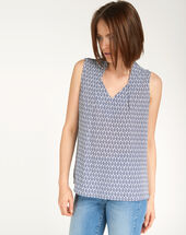 Euphorie bis blue printed top mid blue.