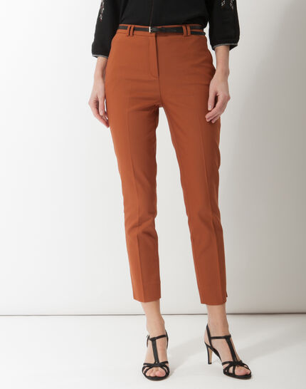 Pauline smart brown trousers with belt PhotoZ | 1-2-3