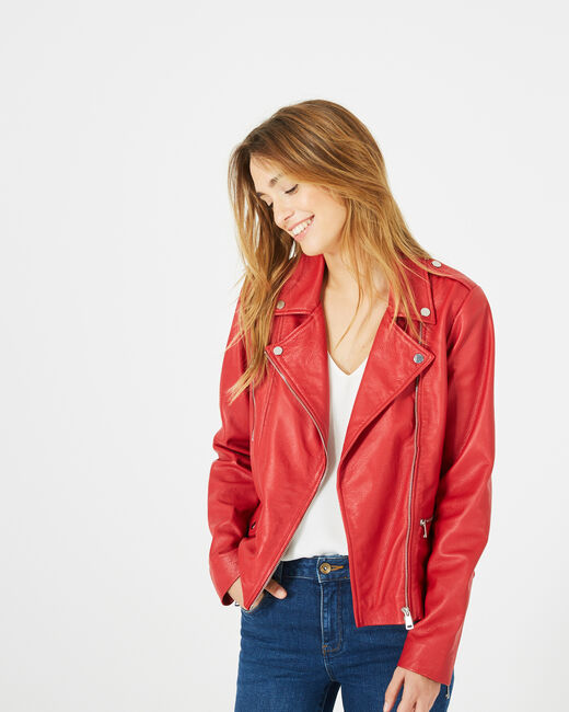 Blouson en cuir rouge Hanna (1) - 1-2-3
