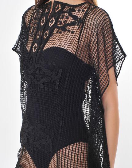 Sophie short black lace kaftan for the beach PhotoZ | 1-2-3