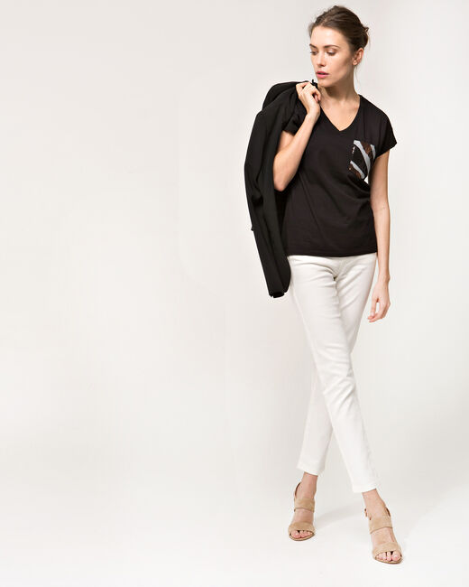 Tee-shirt noir poches sequins Nocket (1) - 1-2-3