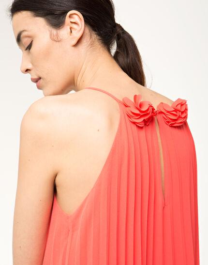 Fidele orange pleated dress (5) - 1-2-3