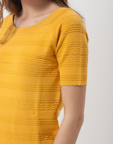 Hélène ochre sweater with stitching detail (5) - 1-2-3