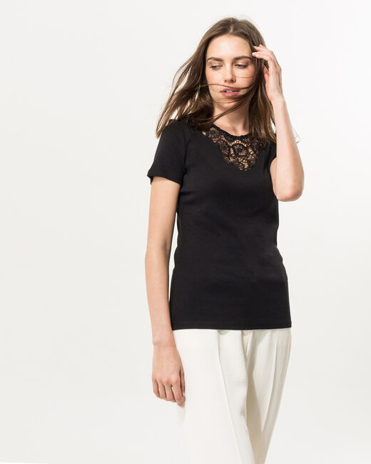 Tee-shirt noir col dentelle Nastasia (2) - 1-2-3