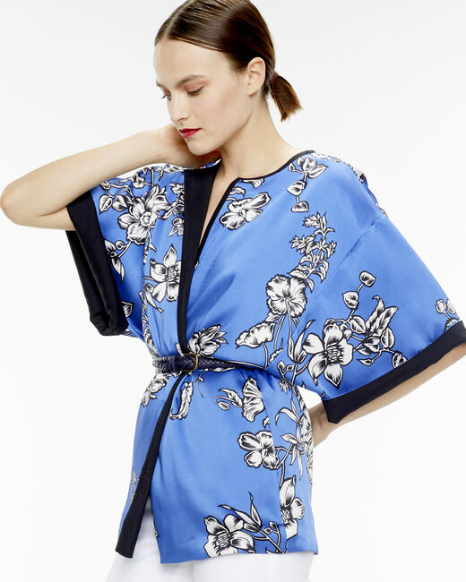 Umberto midnight blue kimono with a floral print (2) - 1-2-3