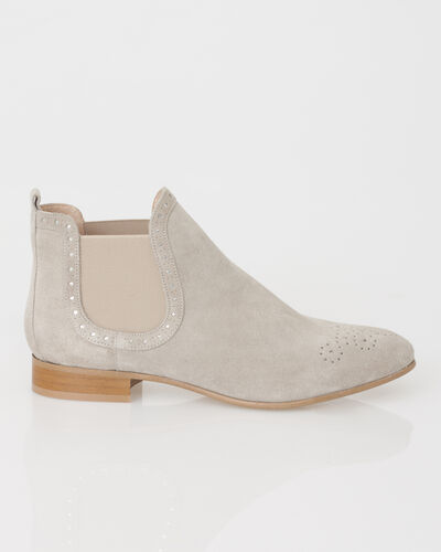 Boots taupe en cuir velours Jeanne (2) - 1-2-3