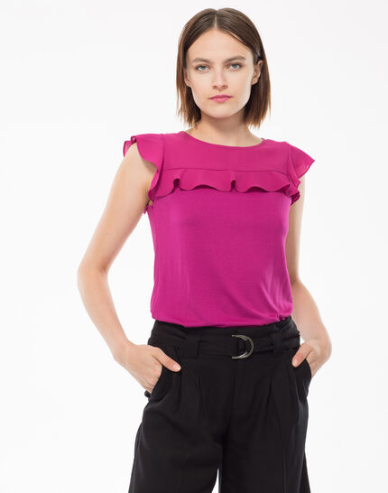 Nenuphar fuchsia dual-fabric ruffled T-shirt PhotoZ | 1-2-3