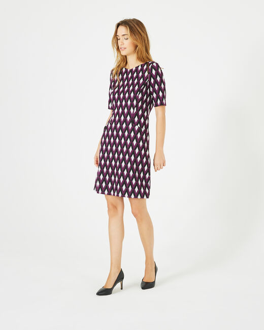 Anémone blackcurrant jacquard dress (1) - 1-2-3