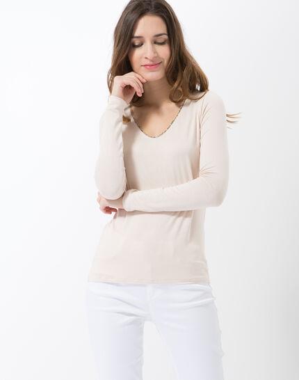 Lyubia pale pink V-neck T-shirt adorned with Swarovski crystals PhotoZ | 1-2-3