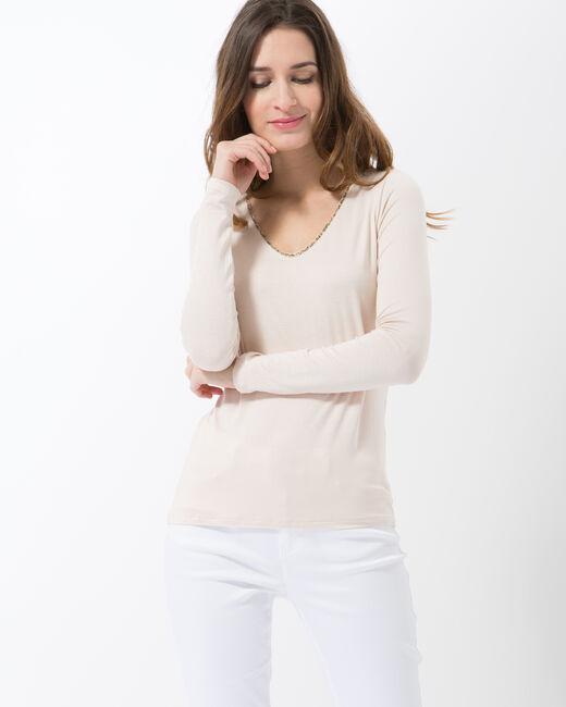 Lyubia pale pink V-neck T-shirt adorned with Swarovski crystals (2) - 1-2-3