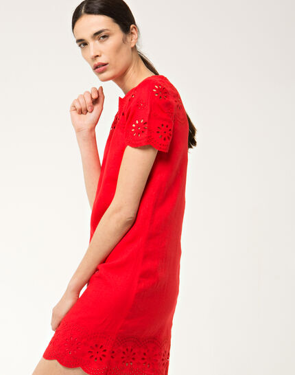Ballade red embroidered dress in linen (3) - 1-2-3