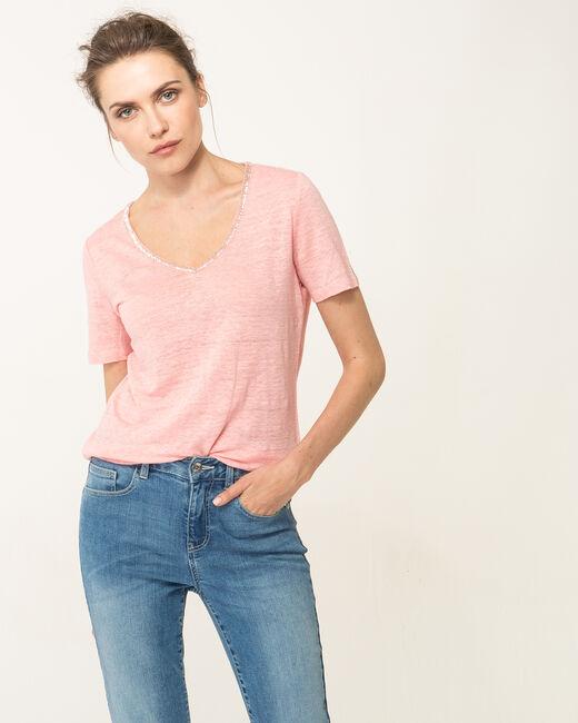 Tee-shirt rose pâle col perles en lin Nice (2) - 1-2-3