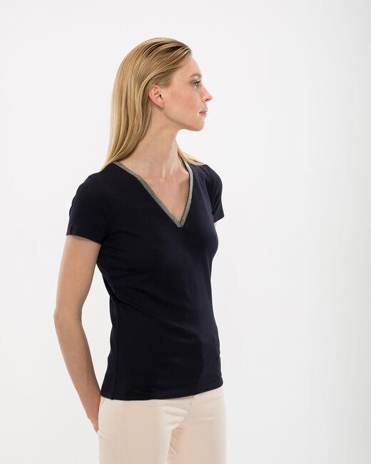 Neck navy blue T-shirt with diamante neckline (2) - 1-2-3