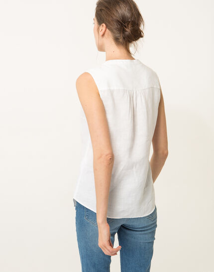 Elise ecru linen sleeveless blouse  (4) - 1-2-3