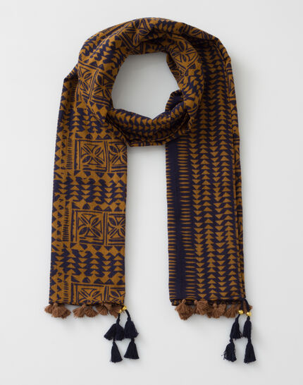 Salvatore caramel cotton printed scarf (2) - 1-2-3