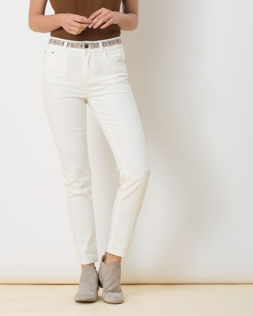 Pantalon 7/8ème écru ceinture brodée Xenia (1) - 1-2-3