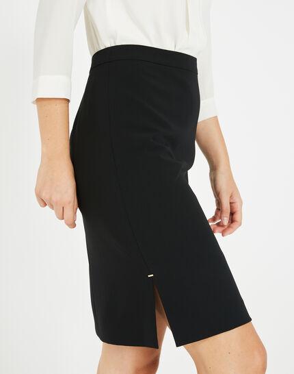 Fanfare straight-cut black tailored skirt (4) - 1-2-3