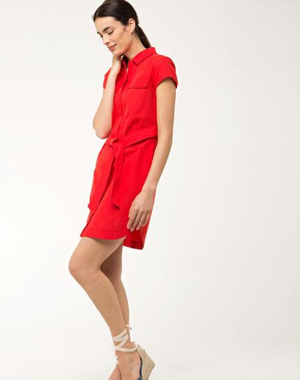Bogota red cotton shirt-dress (3) - 1-2-3