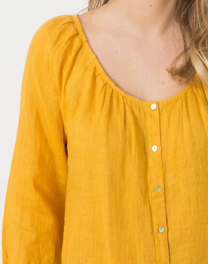 Erina yellow linen shirt (5) - 1-2-3