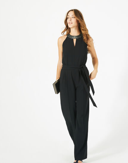 Carly black jumpsuit with Swarovski-embellished neckline (3) - 1-2-3