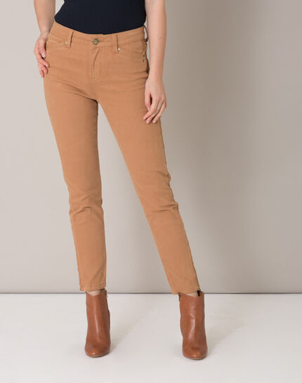 Pia camel 7/8 length satin trousers (2) - 1-2-3