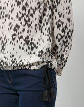 Ezra animal print blouse black/white.