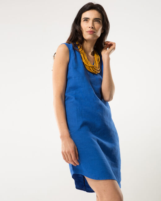 Bellini royal blue linen dress (2) - 1-2-3