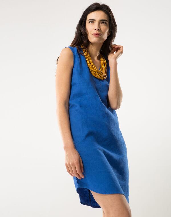 Robe bleu roi en lin bellini à