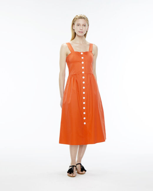 Becky orange cotton button-up dress (1) - 1-2-3